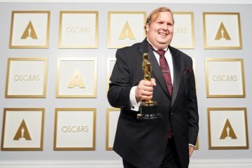 (L-R) Phillip Bladh poses with the Best Sound award for 'The Sound of Metal' in the press room during the 93rd Annual Academy Awards at Union Station on April 25, 2021 in Los Angeles, California. (Photo by Matt Petit/A.M.P.A.S. via Getty Images)