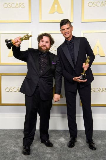 Will McCormack and Michael Govier winners of the Animated Short Film award for 'If Anything Happens I Love You' poses in the press room during the 93rd Annual Academy Awards at Union Station on April 25, 2021 in Los Angeles, California. (Photo by Matt Petit/A.M.P.A.S. via Getty Images)