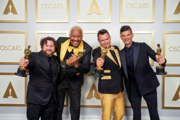 Michael Govier, Will McCormack, Travon Free and Martin Desmond Roe pose in the press room during the 93rd Annual Academy Awards at Union Station on April 25, 2021 in Los Angeles, California. (Photo by Matt Petit/A.M.P.A.S. via Getty Images)