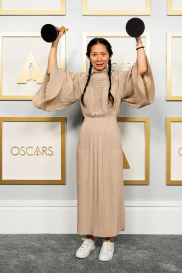 Chloé Zhao, winner of the Best Director for 'Nomadland,' poses in the press room during the 93rd Annual Academy Awards at Union Station on April 25, 2021 in Los Angeles, California. (Photo by Matt Petit/A.M.P.A.S. via Getty Images)