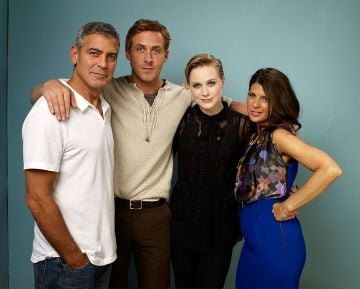 """(L-R) Director/actor George Clooney, actors Ryan Gosling, Evan Rachel Wood and Marisa Tomei of """"Ides Of March"""" poses for a portrait during 2011 Toronto Film Festival on September 9, 2011 in Toronto, Canada.  (Photo by Matt Carr/Getty Images)"""