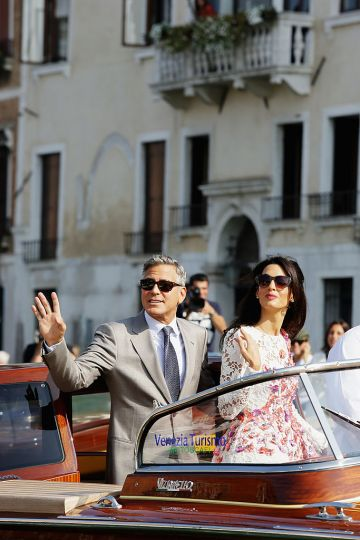 Actor George Clooney and Amal Alamuddin sighting at Canal Grande on September 28, 2014 in Venice, Italy.  (Photo by Ernesto Ruscio/GC Images)