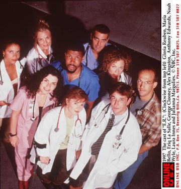 """1997 The cast of """"E.R."""": (Clockwise from top left) Gloria Reuben, Maria Bello, Eriq La Salle, George Clooney, Alex Kingston, Anthony Edwards, Noah Wyle, Laura Innes and Julianna Margulies."""