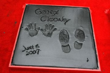 View of George Clooney's imprints after the Hand and Footprints Ceremony at Grauman's Chinese Theatre on June 5, 2007 in Hollywood, California.  (Photo by Kevin Winter/Getty Images)