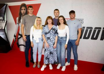 Bláthnaid Ní Chofaigh pictured with her sons and their girlfriends pictured at the Irish Special Preview Screening Marvel Studios Black Widow. Picture Andres Poveda