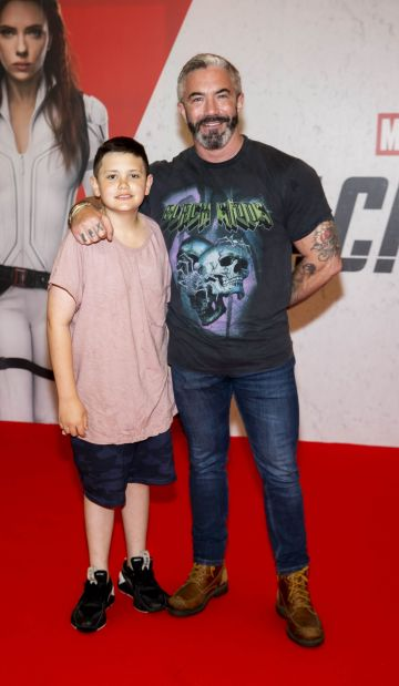 Mark O'Keeffe with son Ely (12) pictured at the Irish Special Preview Screening Marvel Studios Black Widow. Picture Andres Poveda
