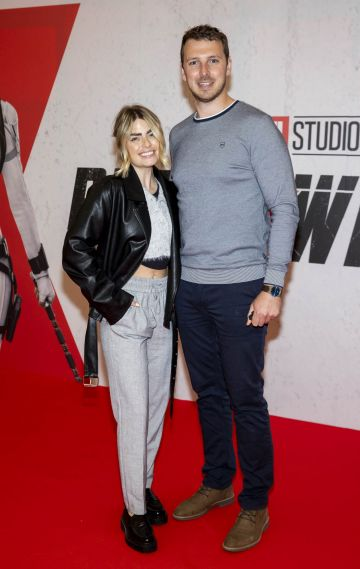 Lauren Arthurs and financé John O'Flynn pictured at the Irish Special Preview Screening Marvel Studios Black Widow. Picture Andres Poveda