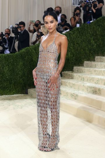 """NEW YORK, NEW YORK - SEPTEMBER 13: Zoe Kravitz attends the 2021 Met Gala benefit """"In America: A Lexicon of Fashion"""" at Metropolitan Museum of Art on September 13, 2021 in New York City. (Photo by Taylor Hill/WireImage)"""