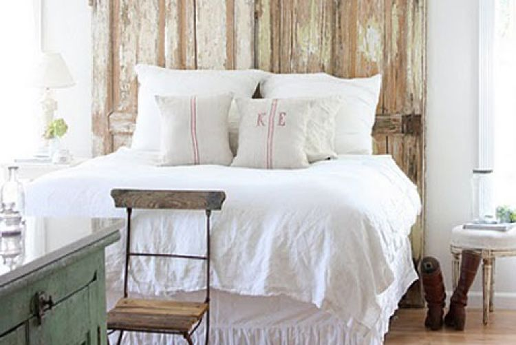 Repurposing done right: Salvaged door and shutter headboards