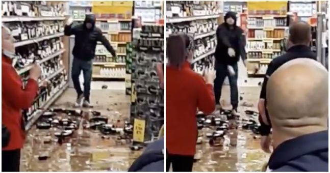 WATCH: Irishman goes on bottle-smashing rampage in Drogheda Tesco after being asked to wear face-mask