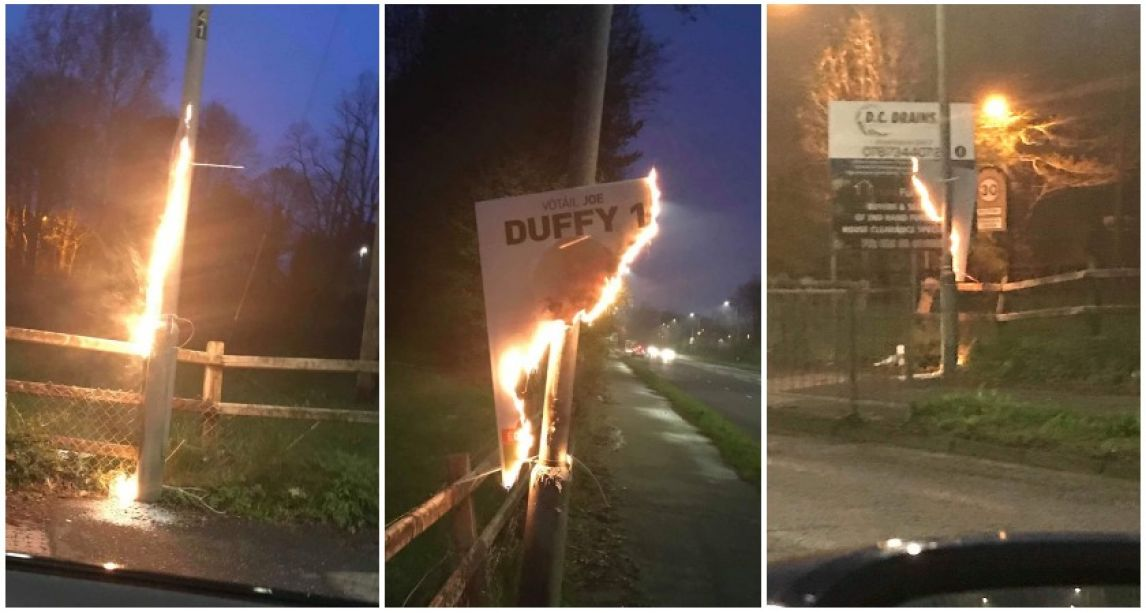'Sinn Féin will not be silenced by these attacks' – Fury after party's election posters burned in Northern Ireland