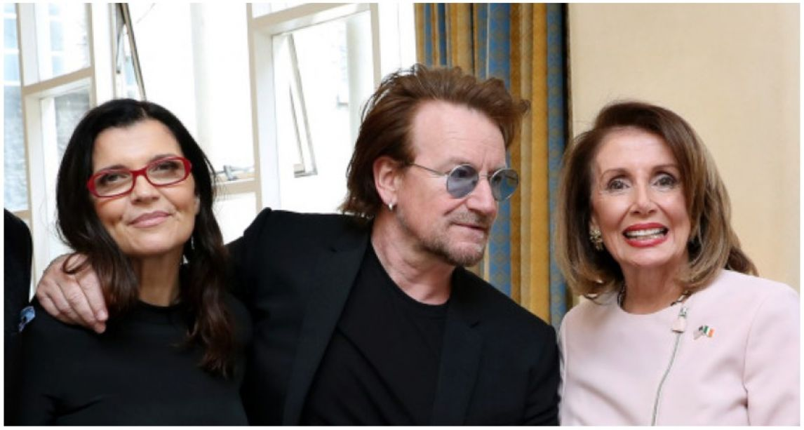 Bono and wife Ali Hewson make rare joint public appearance at the Dáil to hear speech by US Democrat Nancy Pelosi