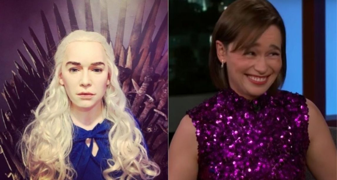 Game of Thrones star Emilia Clarke reacts to Dublin museum's Khaleesi waxwork