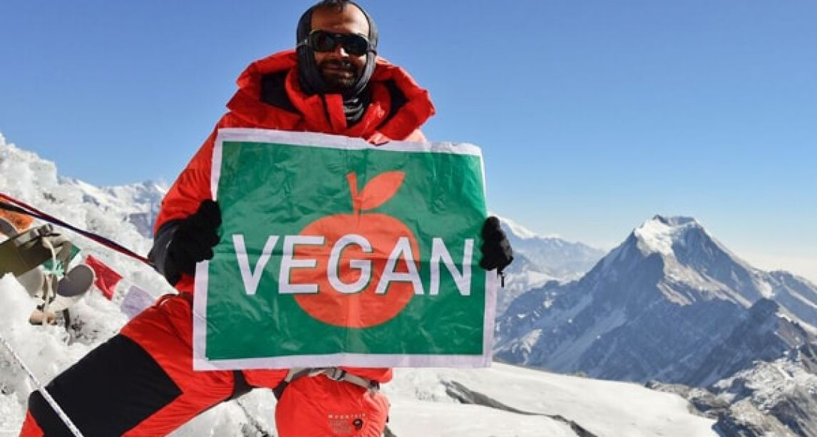 Vegan man climbs Mount Everest with 100% animal-free kit