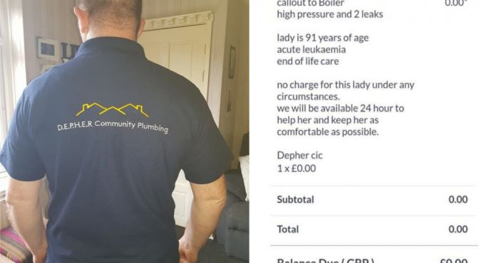 Plumber goes viral after refusing to take payment for work from 91-year-old pensioner