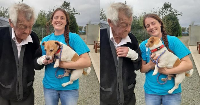 Elderly man reunited with his dog who was thrown from moving car