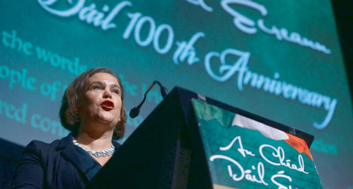 Sinn Féin leader vows to achieve objectives of First Dáil and end 'corrupt system'