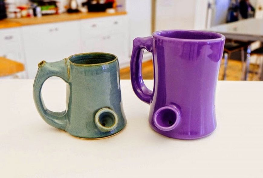 Coffee Mug With Pipe In Handle for Weed Smoking-2