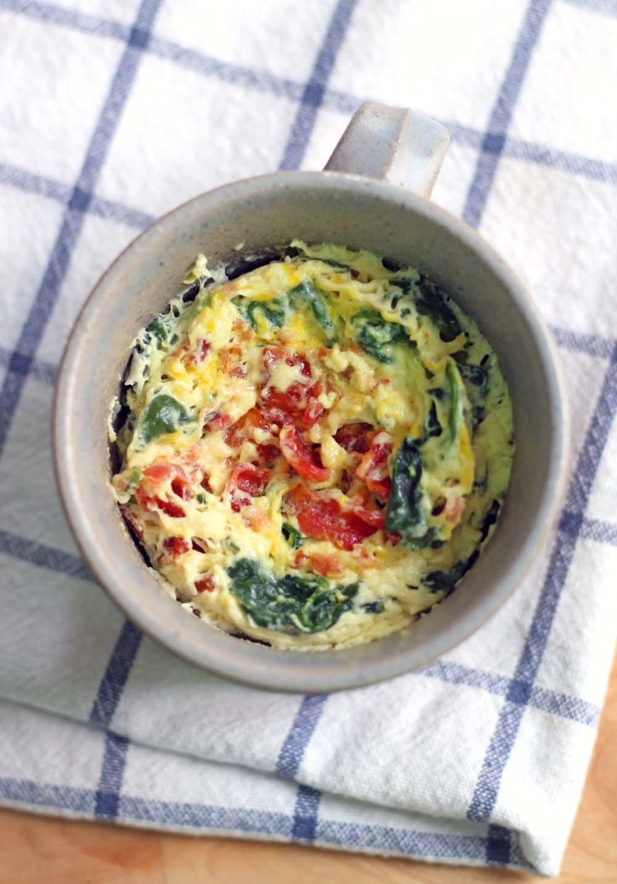 5 Minute Spinach And Cheddar Microwave Quiche In A Mug 4