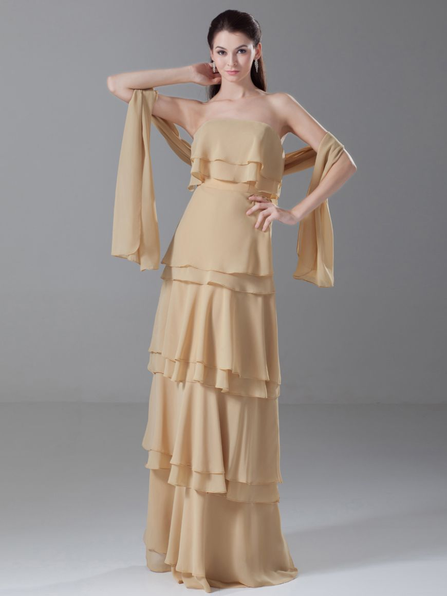 Wedding Dresses  Chiffon Floor Length Straight Neck Evening Dress With Shawl 1