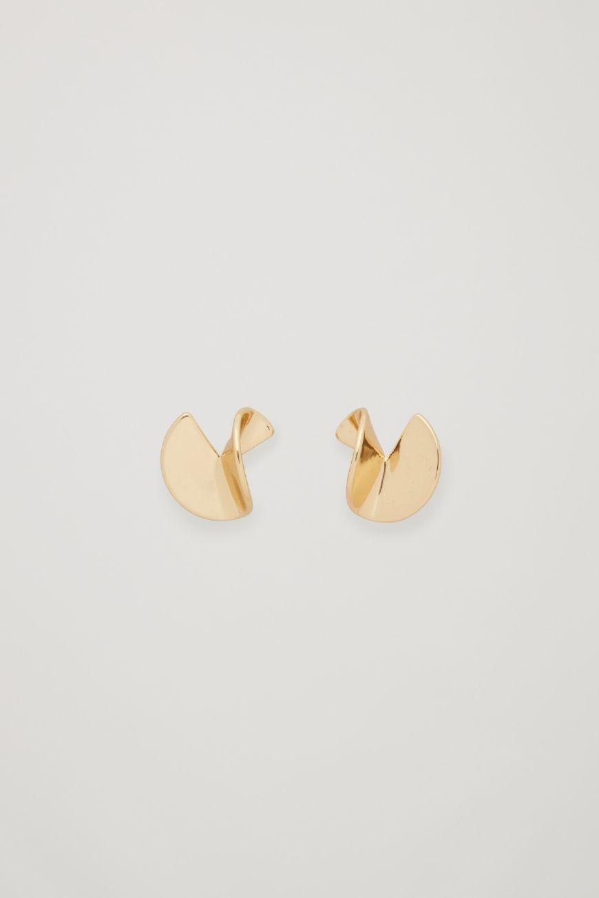 Curved Metal Stud Earrings
