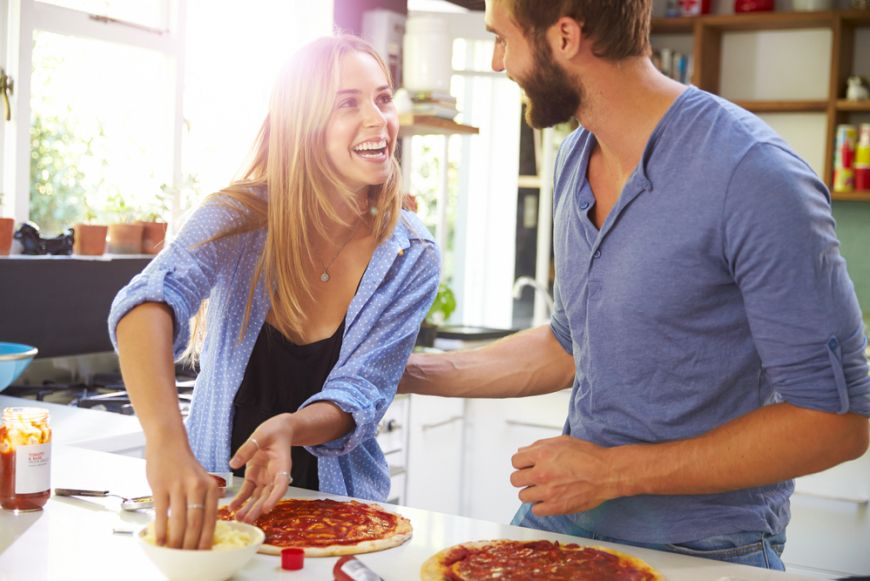 Couple Making Pizza