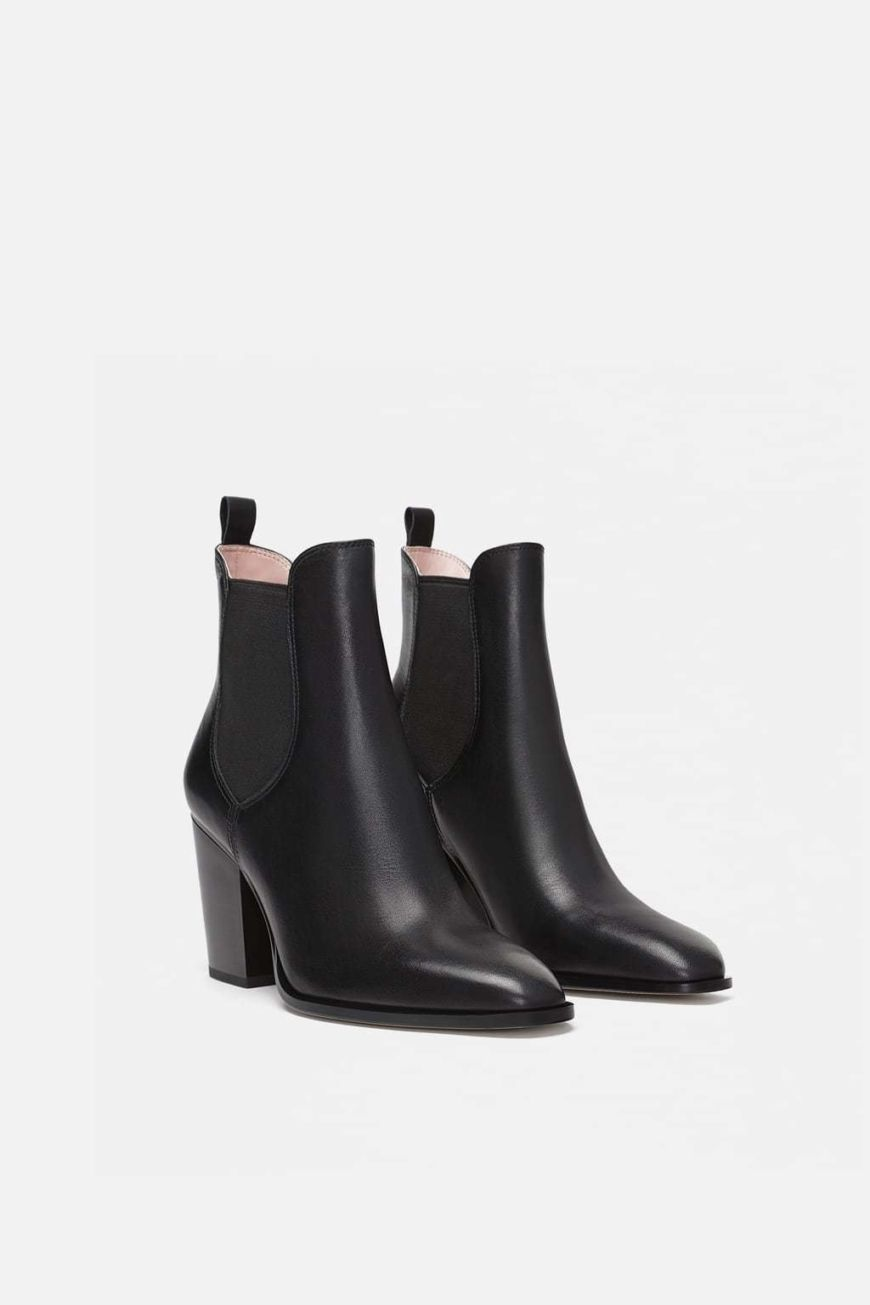 Stretch Leather Ankle Boots Zara