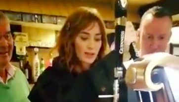 WATCH: Emily Blunt Showed Off Her Pint-Pouring Skills In A Mayo Pub