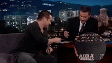 Colin Farrell showed off his Abrakebabra black card on Jimmy Kimmel Live