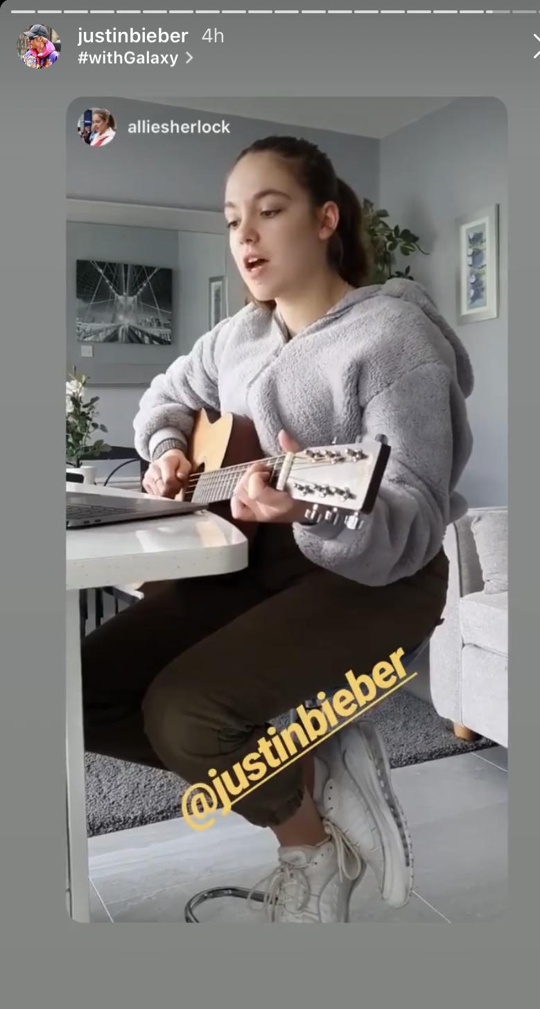 Justin Bieber gives Allie Sherlock shoutout on social media