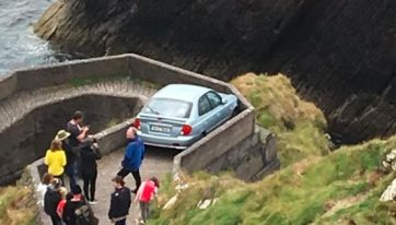 A Learner Driver Got Stuck On The 'Sheep Highway' Down To Dunquin Pier In Co. Kerry