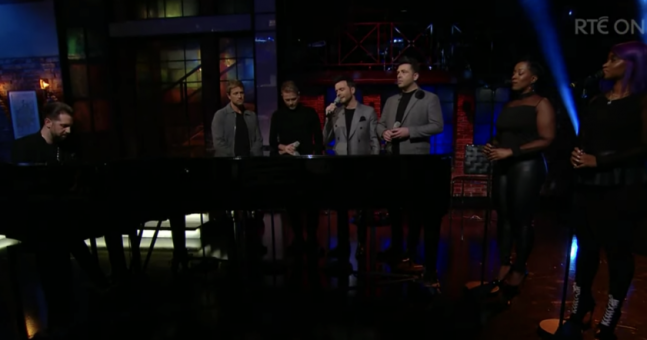 watch westlife serenade late late show audience with stunning rendition of flying without wings.'