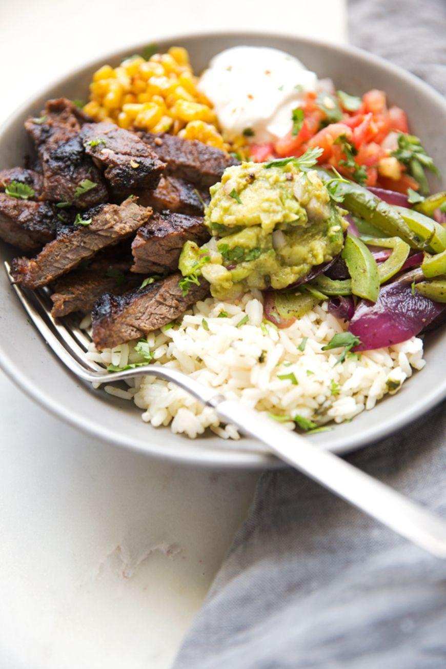 Steak Fajita Bowls With Garlic Lime Rice 5