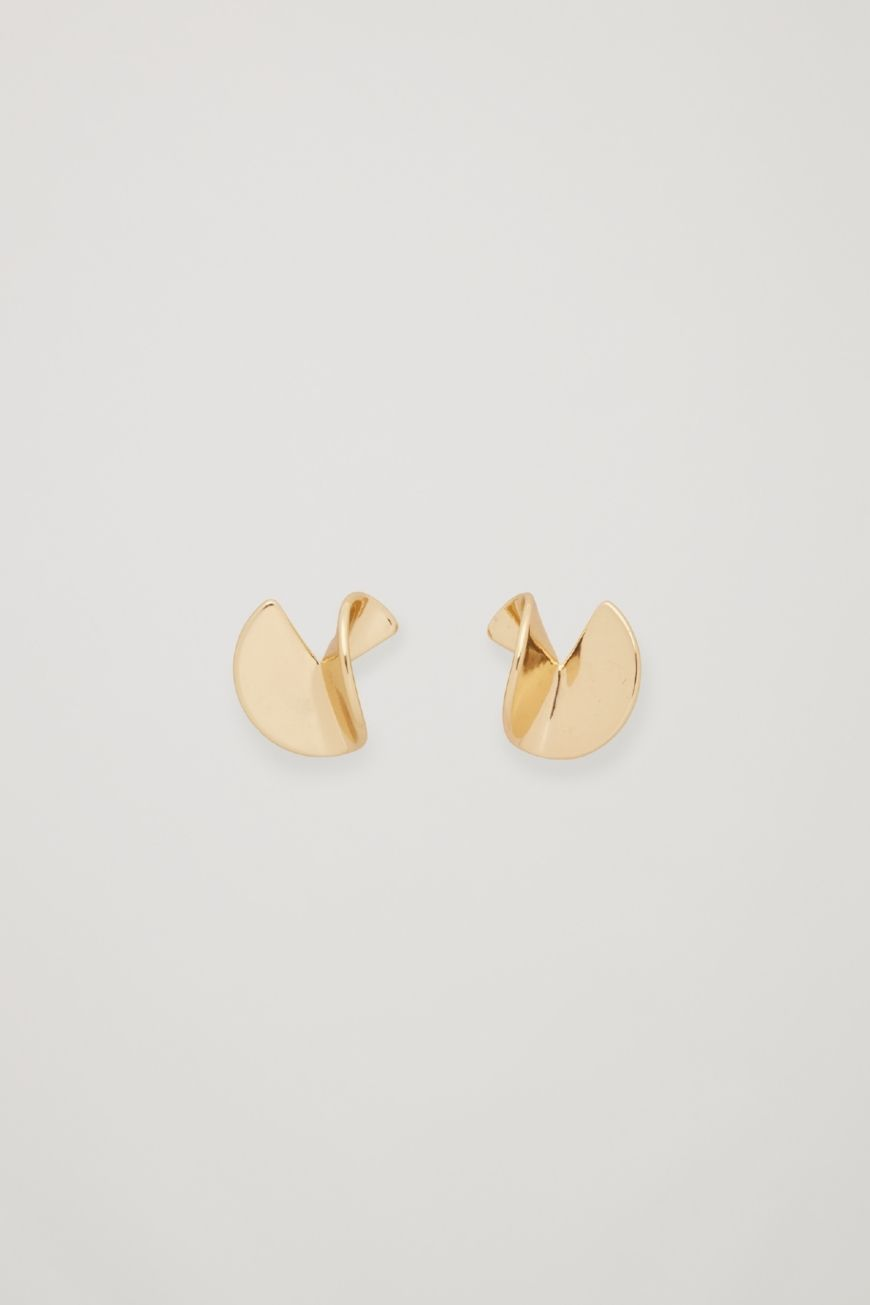 Curved Metal Stud Earrings