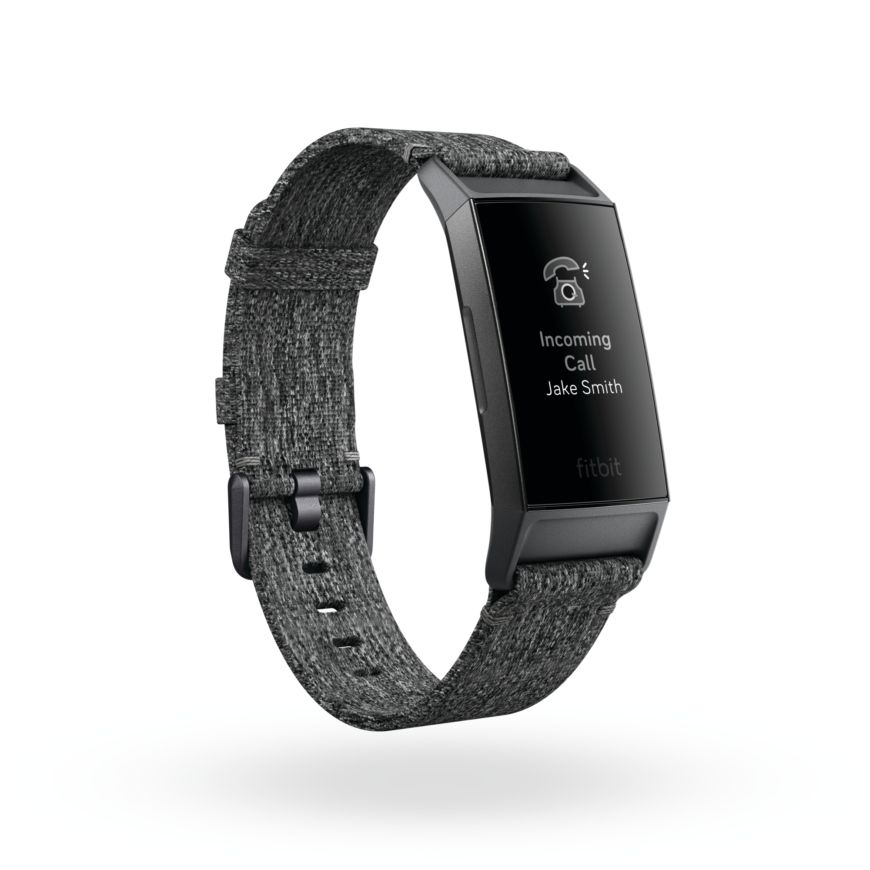 Fitbit Charge 3 3 Qtr Woven Charcoal Graphite Call Notification 2 Shadow