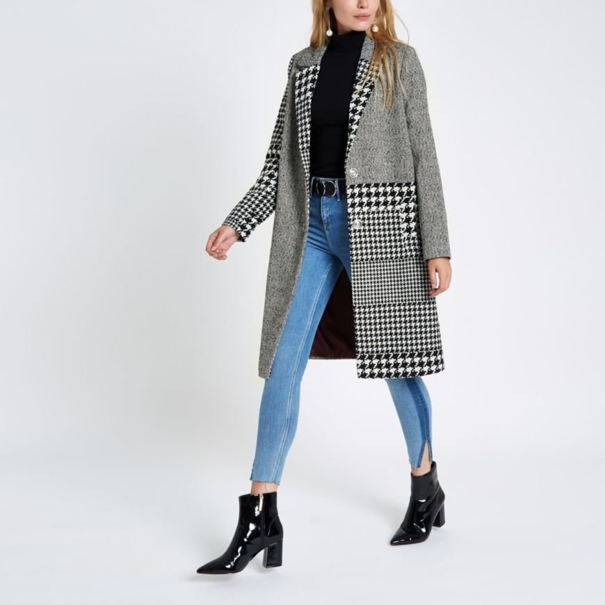 River Island Mixed Check Coat
