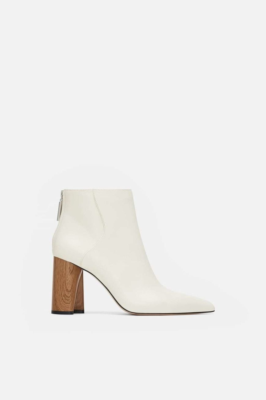 Zara White Wooden Heel