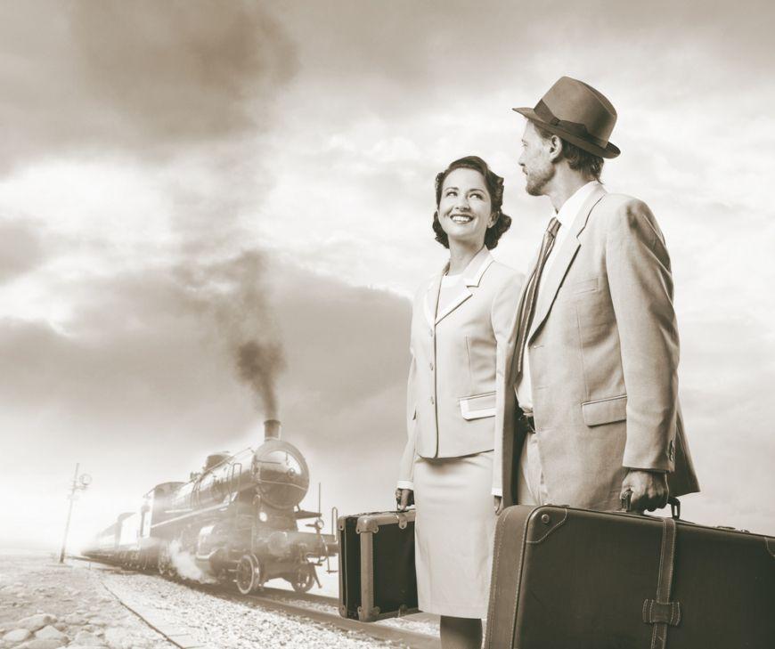 Train Couple Black And White