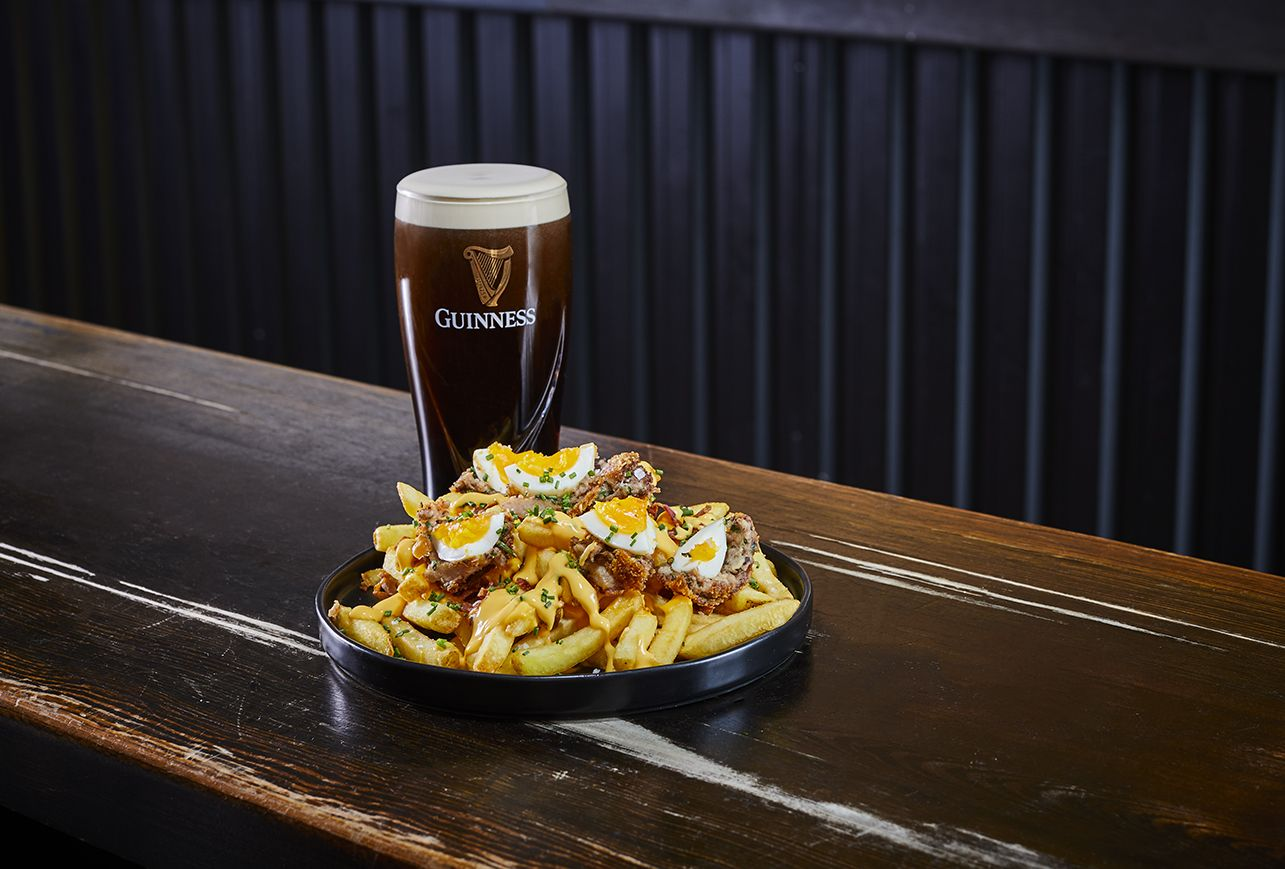 Guinness and Scotch Egg Debris (Loaded Fries)