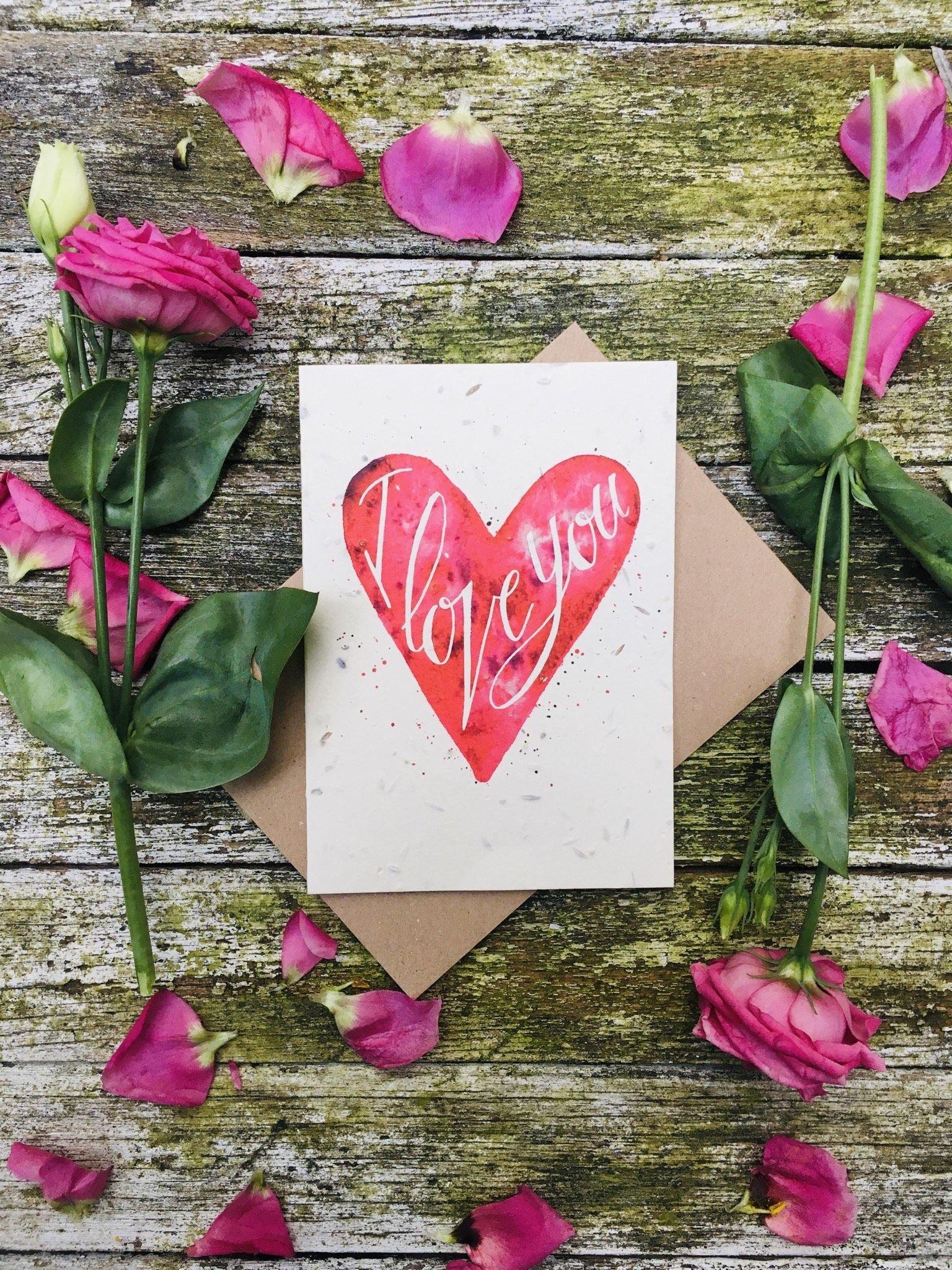 """I love you"" plantable Valentine's card"