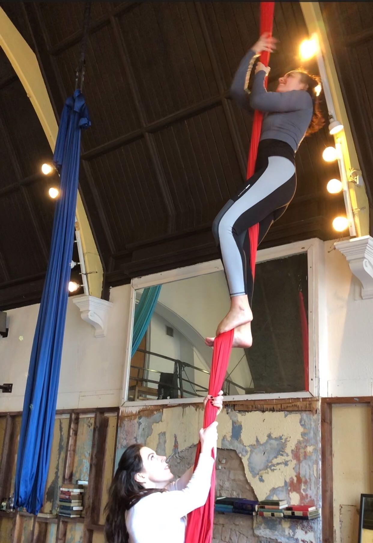 saoirse trying aerial cirque in Dublin