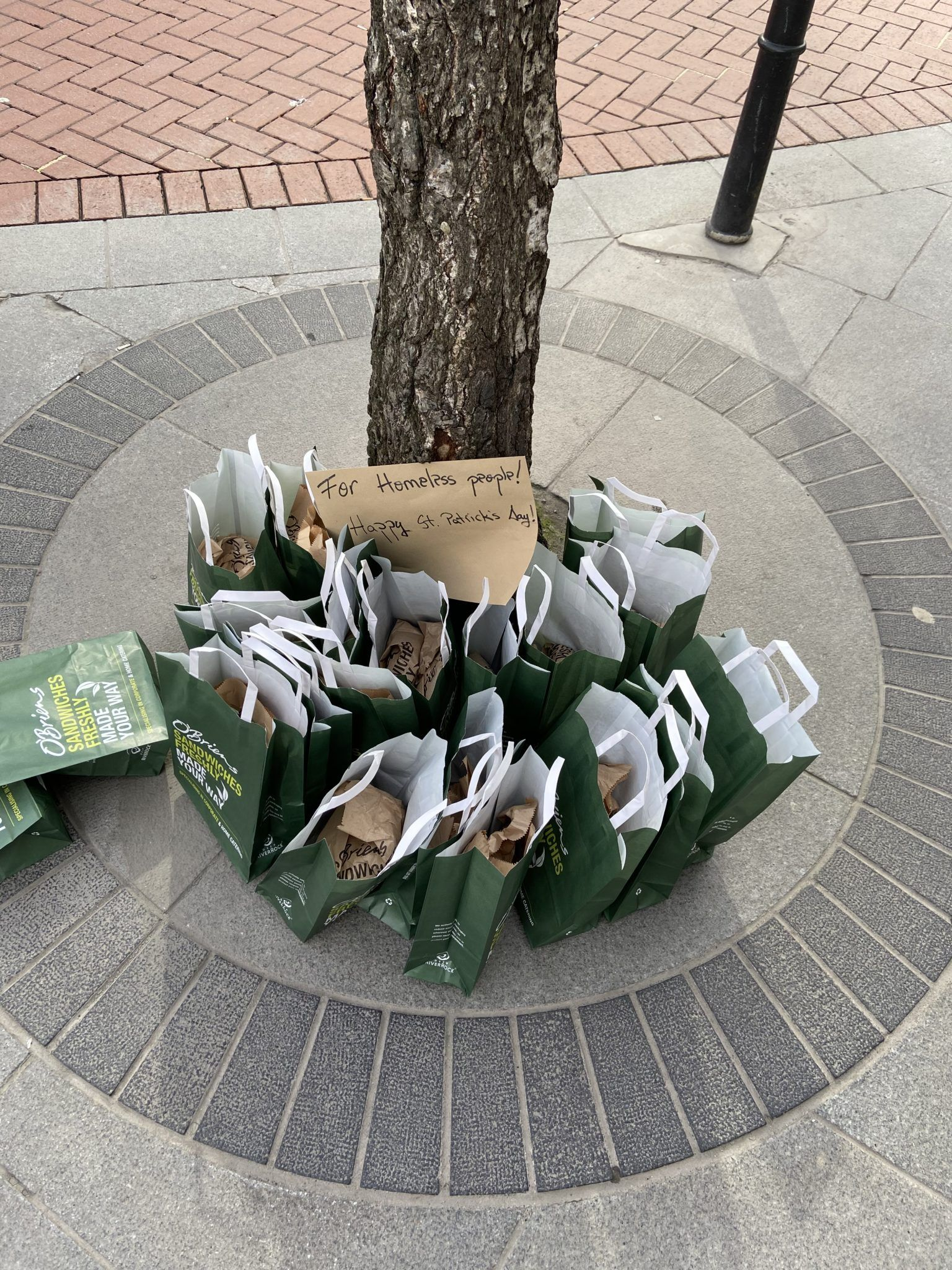 O'Brien's sandwiches for the homeless
