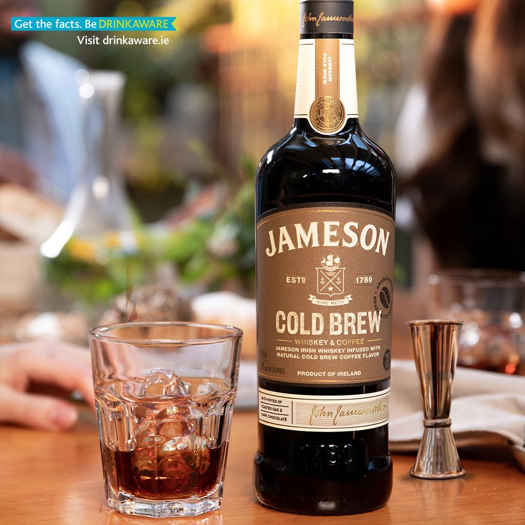 Jameson Cold Brew bottle and poured over ice in a glass