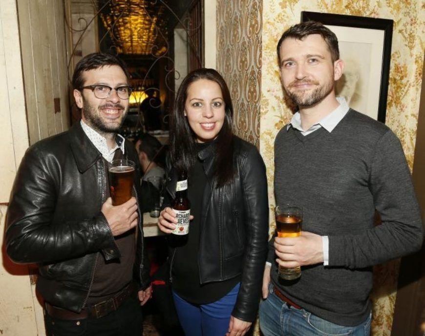 david warner louise bocking and owen mangan at the launch of orchard thieves cider  medium