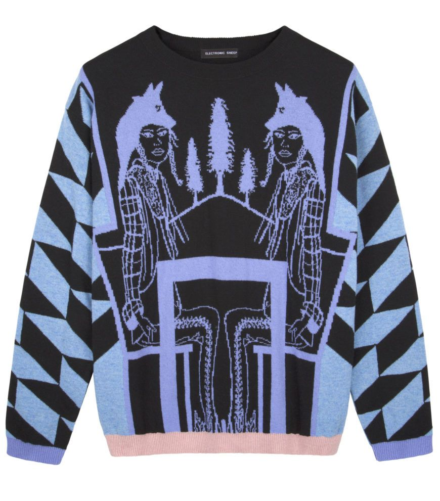 Electronic Sheep  Blue And Black Wool Jacquard Sweater  High Res
