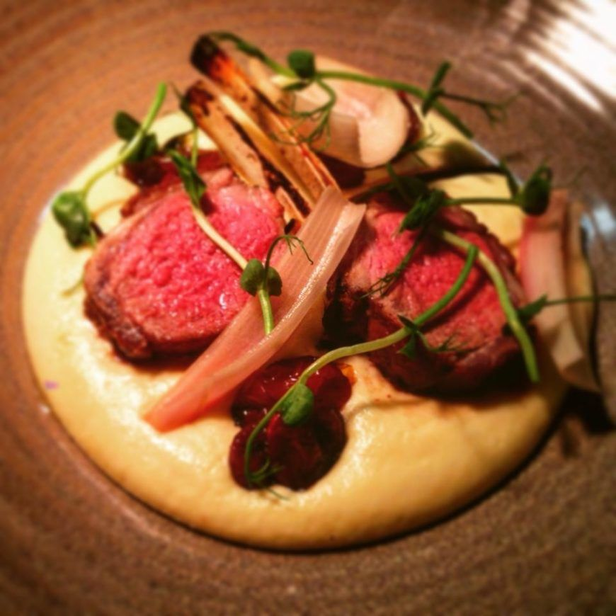 Slow Cooked Rack Of Lamb With Smoked Potato Foam Sweet Cherry Tomatoes And Pickled Shallots 2