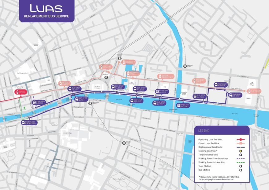 Luas Replacement Bus Service Route Map
