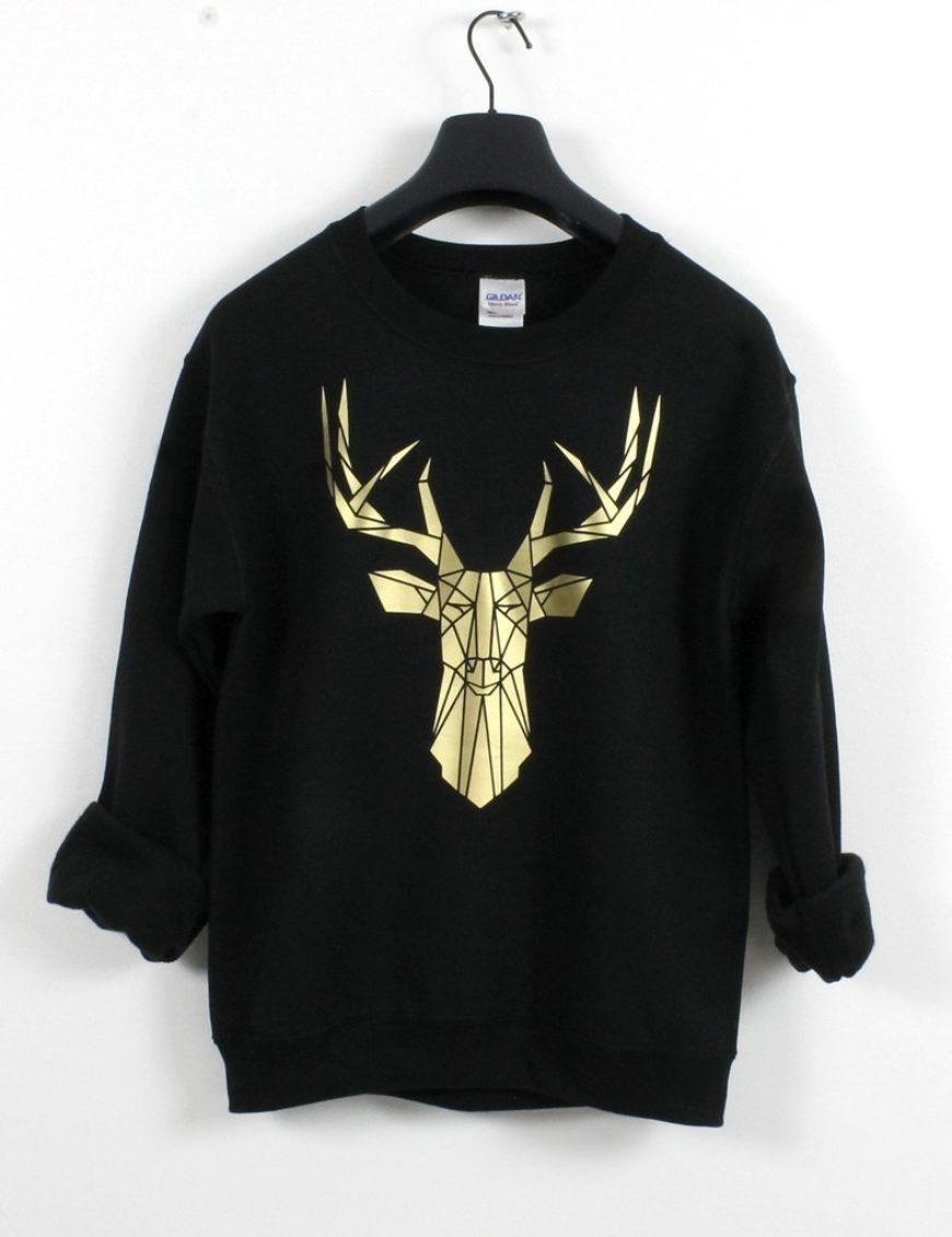 Black And Gold Stag Deer Sweatshirt Geometric Crewneck By Stencilize 1024X1024