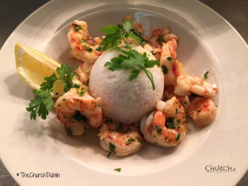 Plate Overview Prawns Lucnh Special Logo