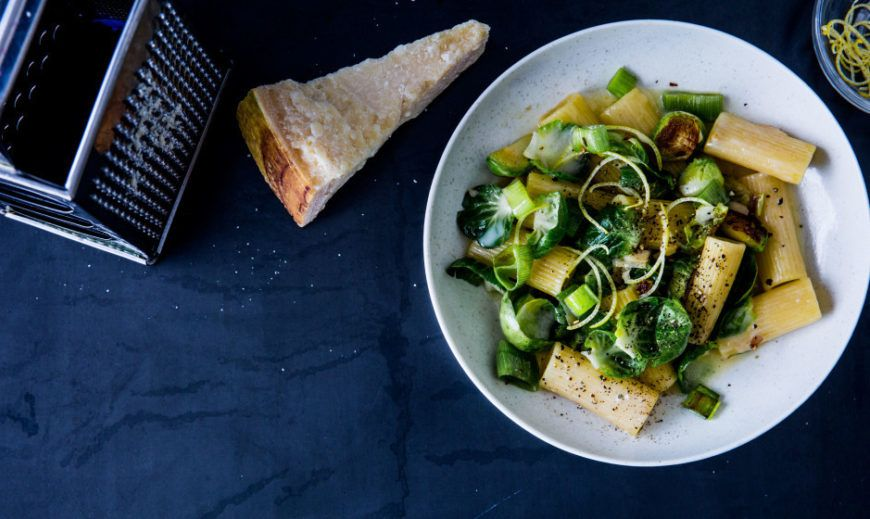Rigatoni With Brussels Sprouts Parmesan Lemon And Leek 940X560